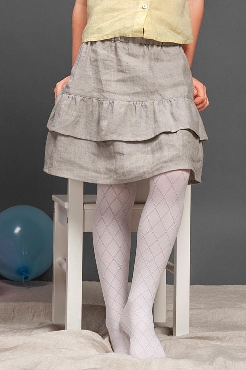 Light grey linen girl's skirt with ruffles 1
