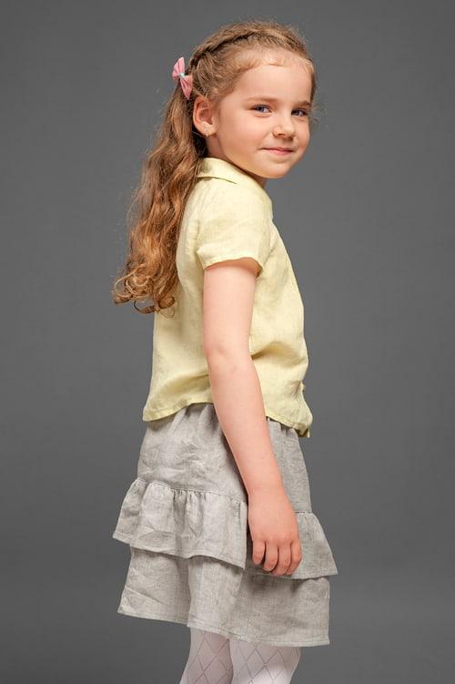 Light grey linen girl's skirt with ruffles 4