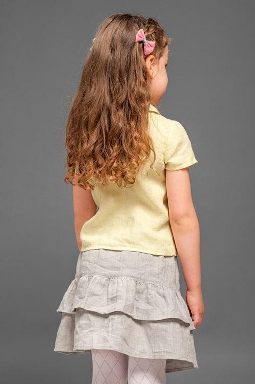 Light grey linen girl's skirt with ruffles 5