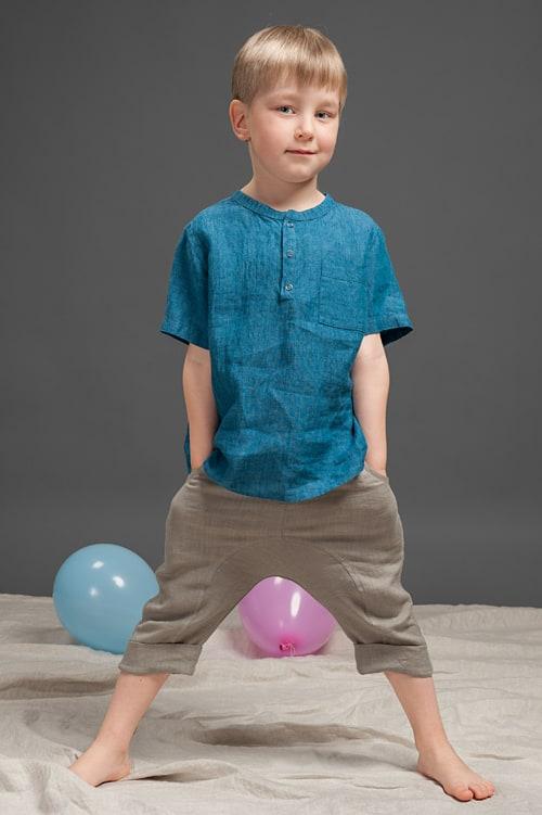 Blue linen boy shirt 1