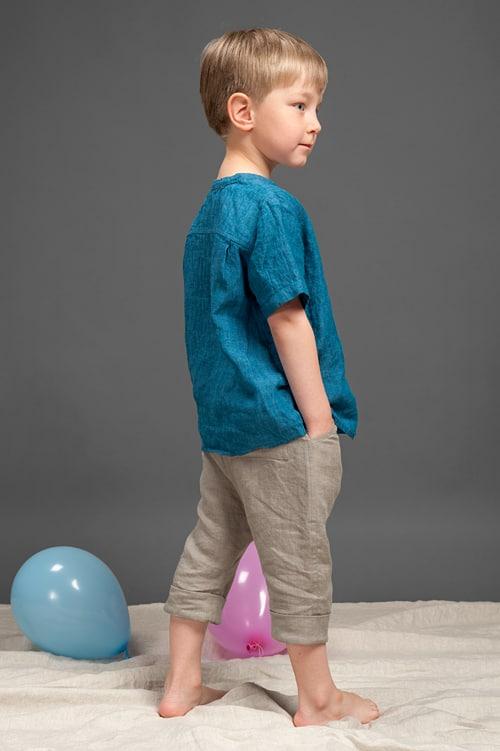Blue linen boy shirt 2