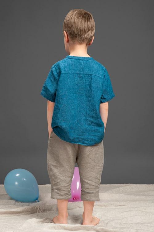 Blue linen boy shirt 3