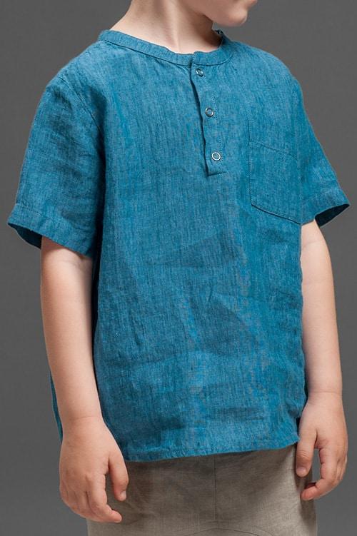 Blue linen boy shirt 4