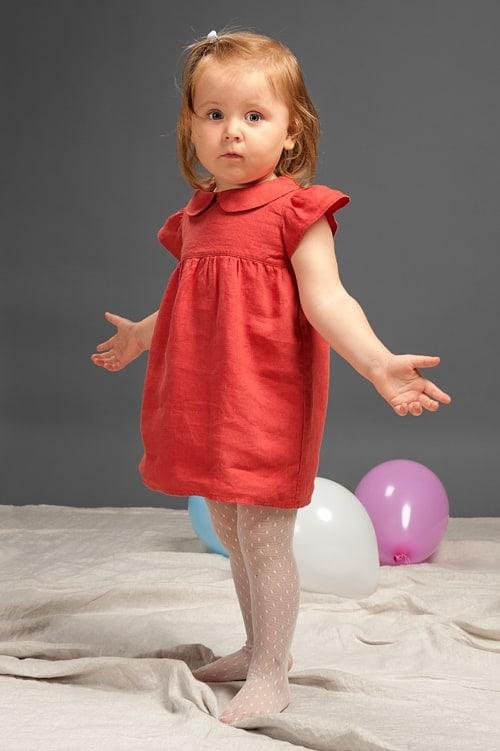 Red linen girls' dress 1