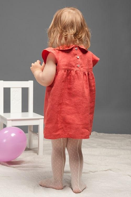 Red linen girls' dress 3