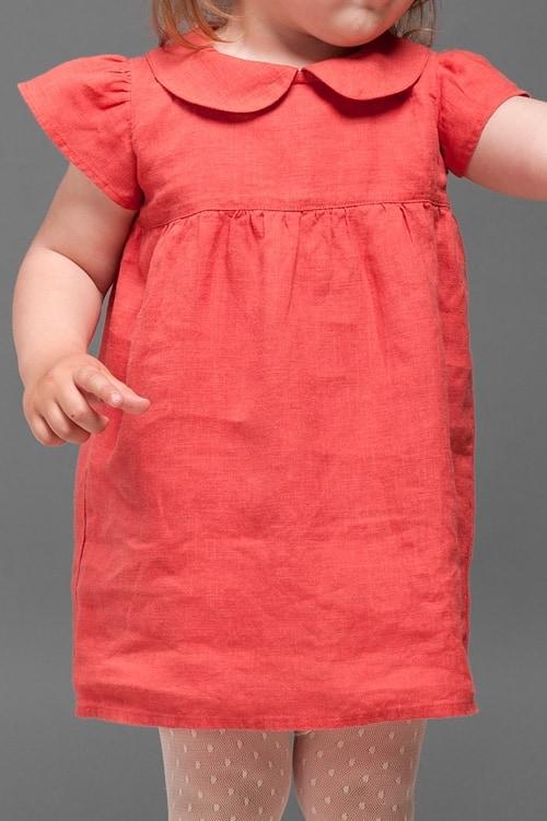 Red linen girls' dress 4