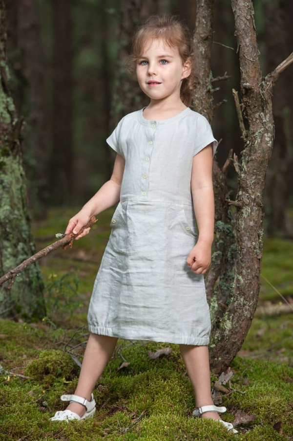 "Grey girl's linen dress ""Pearl"" 1"