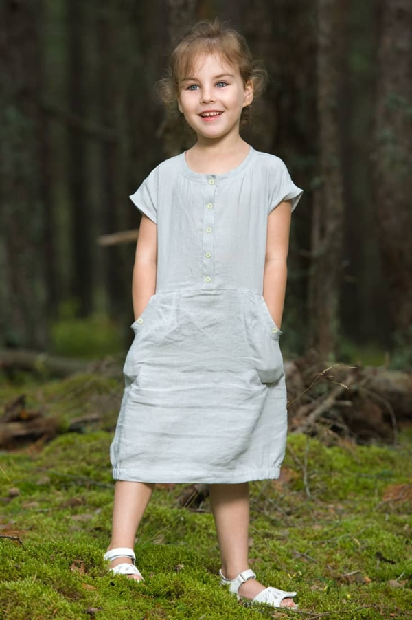 "Grey girl's linen dress ""Pearl"" 2"