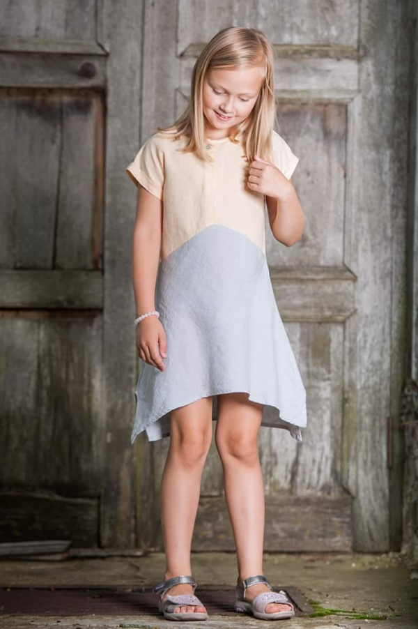"Linen yellowish grey dress for girl ""Tit"" 1"