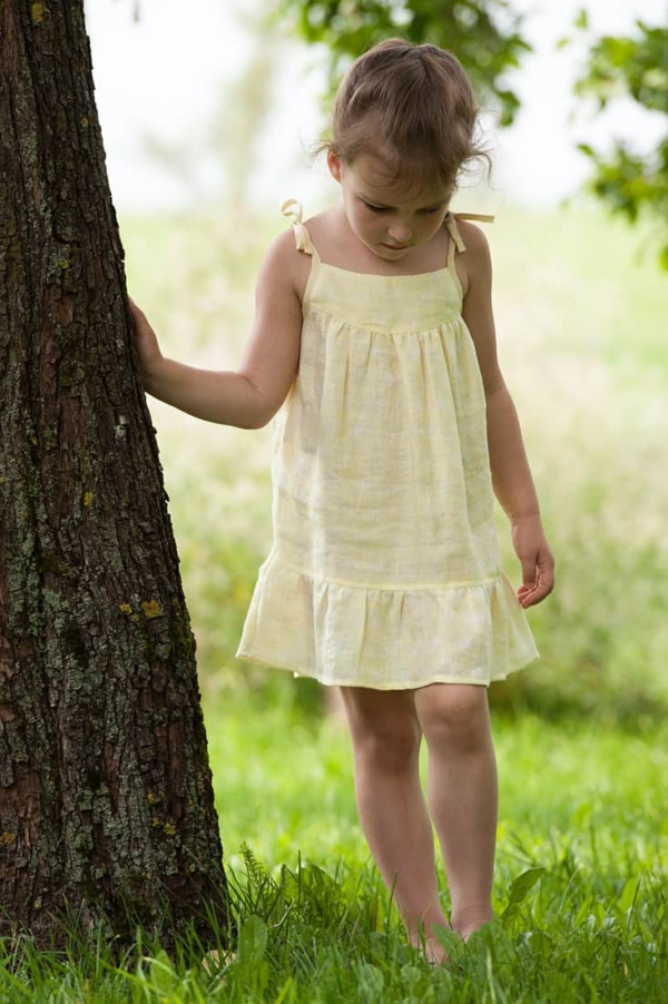 "Linen yellow patterned girl's dress ""Daisies"" 2"
