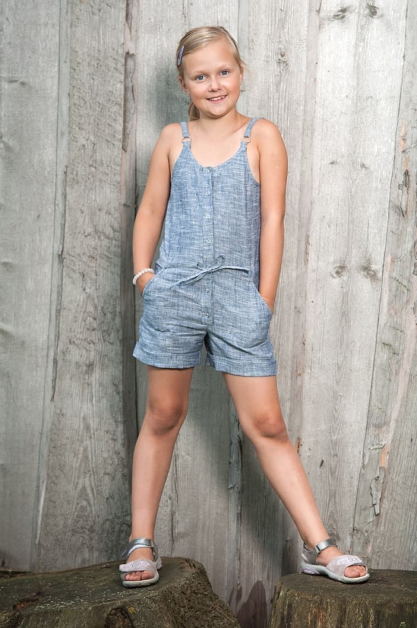 "Linen blue playsuit for girl ""River"" 1"