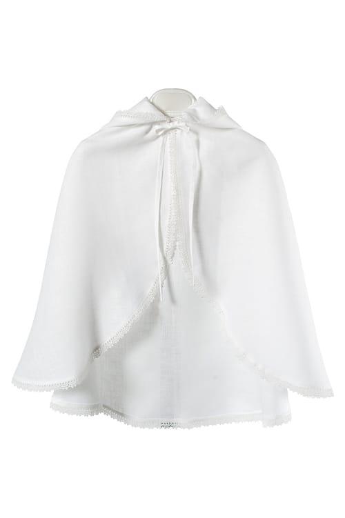 White linen kids' cloak with a hood 1