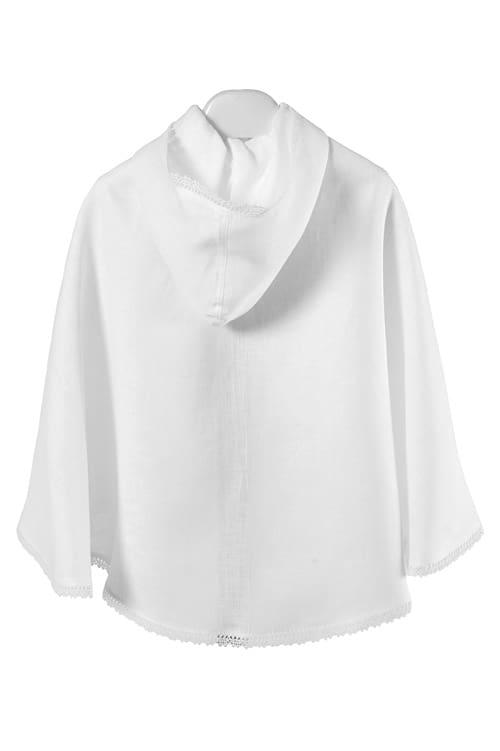 White linen kids' cloak with a hood 2