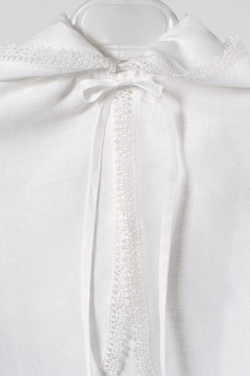White linen kids' cloak with a hood 3
