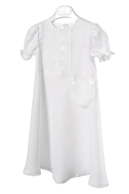 White linen girl's dress with a decorative pocket 1