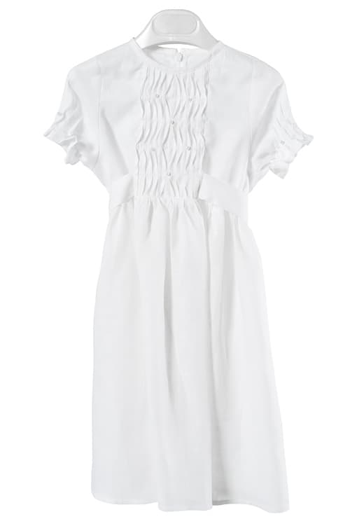 White linen girl's dress with pleats and pearls 1
