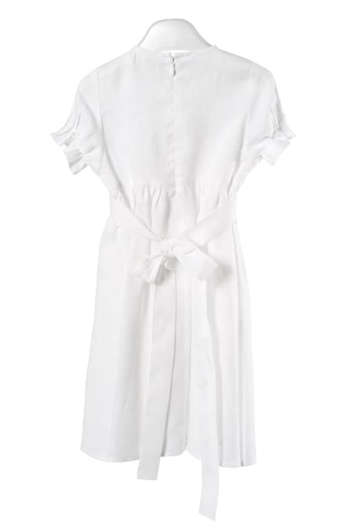 White linen girl's dress with pleats and pearls 2