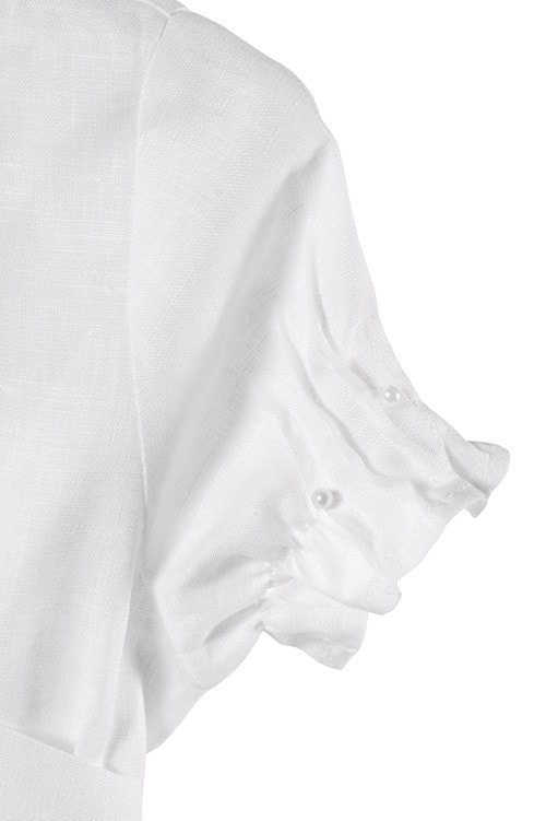 White linen girl's dress with pleats and pearls 4