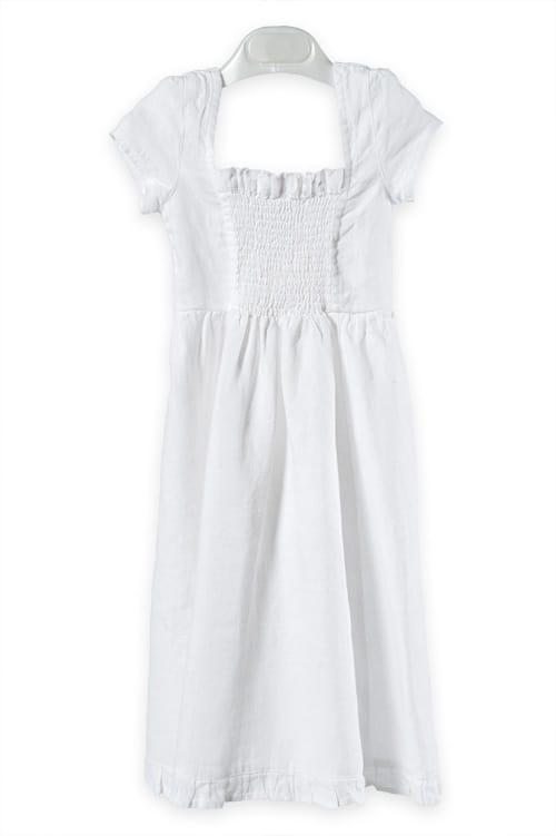 White shirred linen girl's dress 1