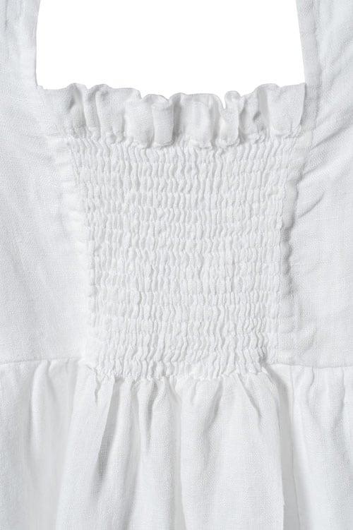 White shirred linen girl's dress 2