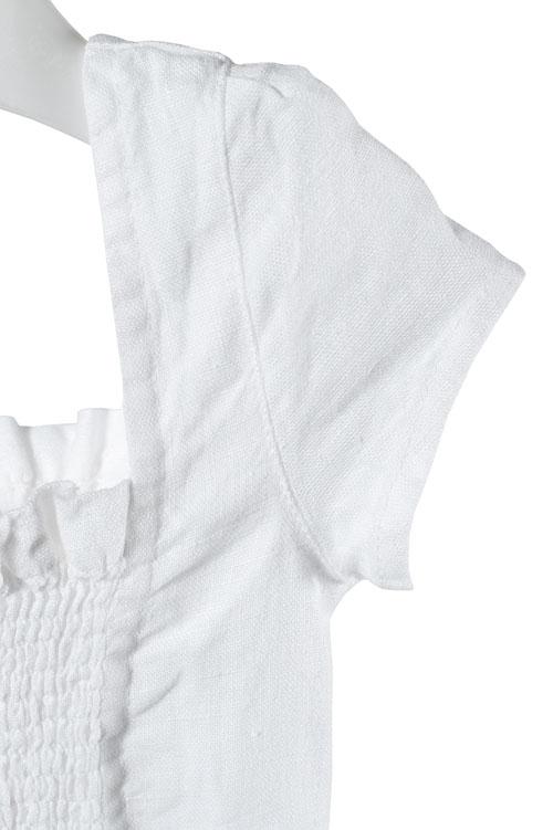 White shirred linen girl's dress 3