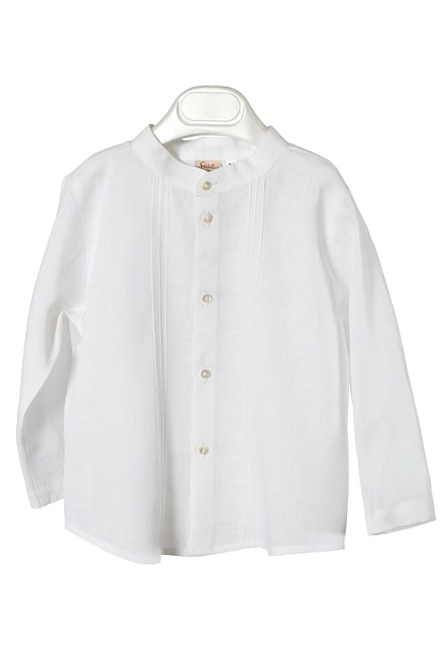 White linen boy shirt with pleats 1