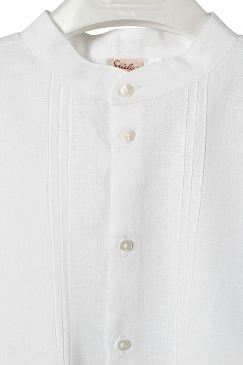 White linen boy shirt with pleats 2