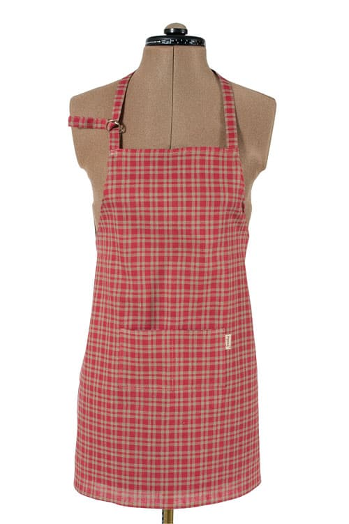 Red checked linen apron for kids 1