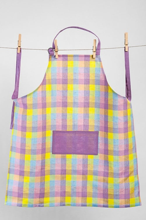 Lilac checked linen kids apron 1