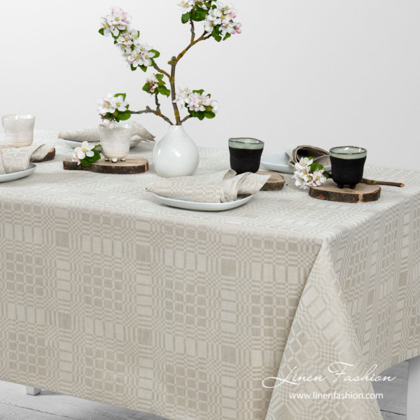 Grey patterned linen tablecloth | Linen Fashion
