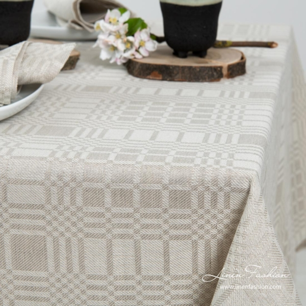 Light grey classically patterned linen / cotton tablecloth