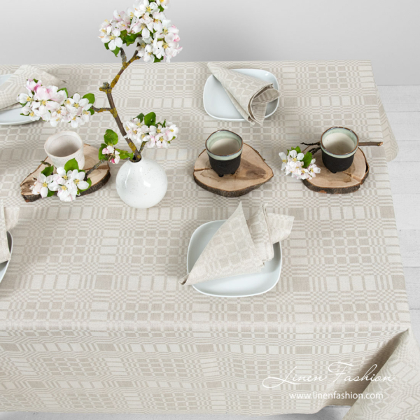 Grey patterned linen tablecloth | Table Linen