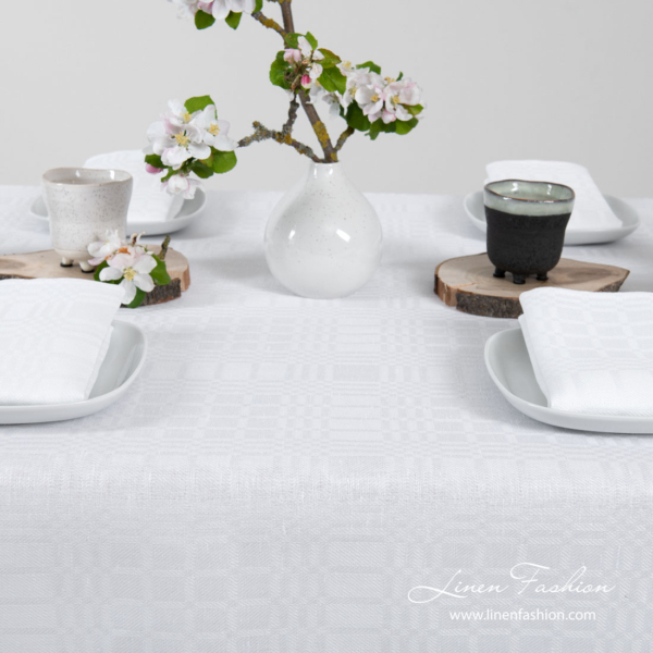 Optical white playfully patterned linen / cotton tablecloth