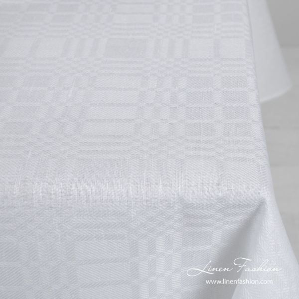 Optical white patterned linen blend tablecloth