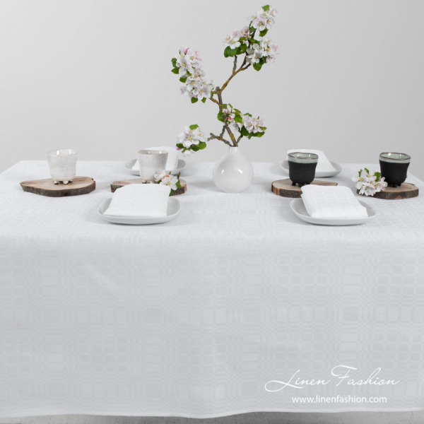 White patterned linen tablecloth