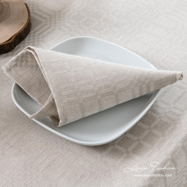 Grey patterned linen cotton table napkin
