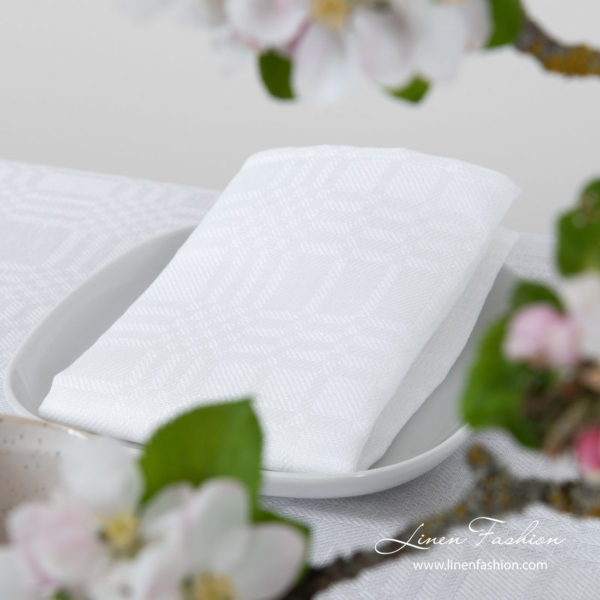 Optical white patterned linen blend napkin