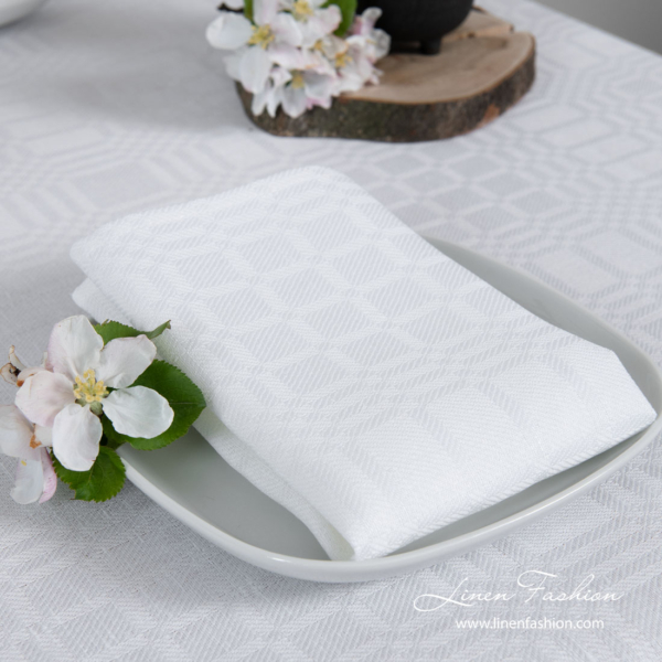 White patterned linen napkin