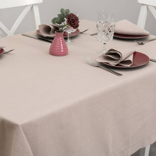 Dusty rose linen tablecloth with hemstitch 1