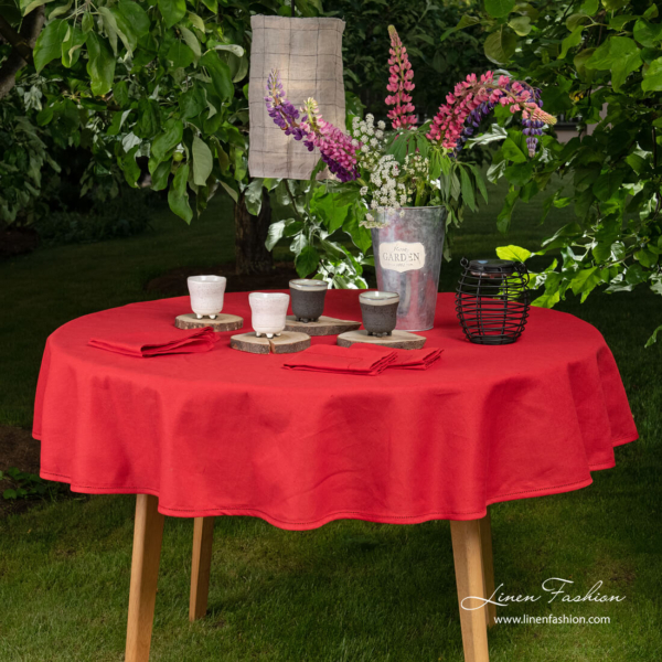 Round (oval) red linen tablecloth with hemstitch