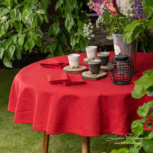 Red linen cotton round (oval) tablecloth with hemstitch