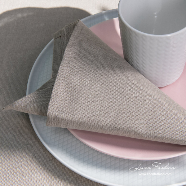 Light grey, simple hem linen blend napkin