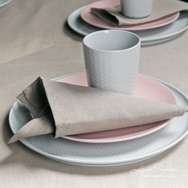 Light grey linen table napkin