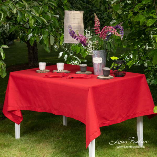 Red linen tablecloth with hemstitch