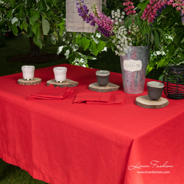 Red linen blend tablecloth with 4cm border and hemstitch