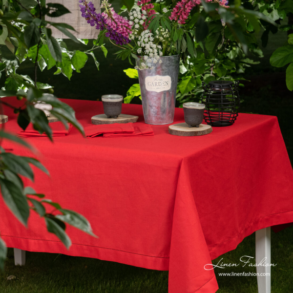 Red linen cotton blend tablecloth with hemstitch