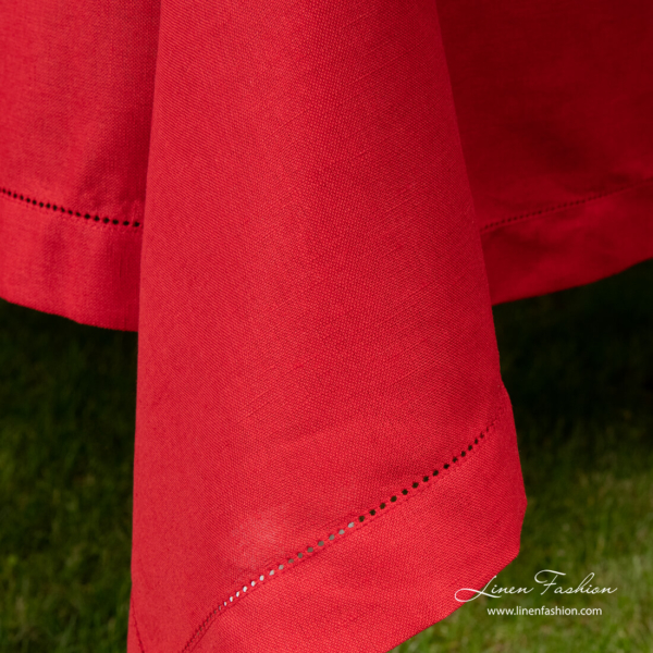 Border with hemstitch, red linen blend tablecloth