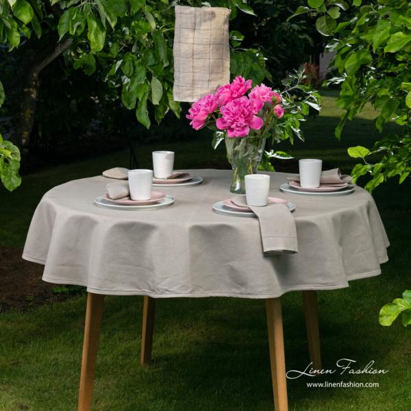 Round (oval) dark grey linen tablecloth with hemstitch