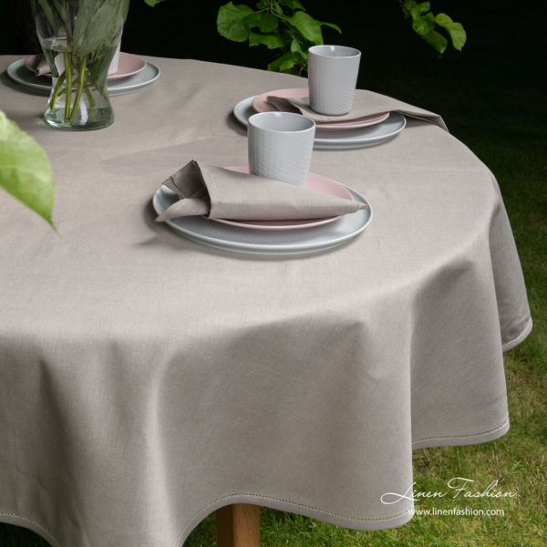 Linen cotton dark grey round (oval) tablecloth with hemstitch and matching napkins