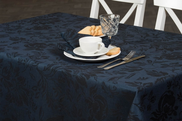 Dark blue floral jacquard linen tablecloth 1